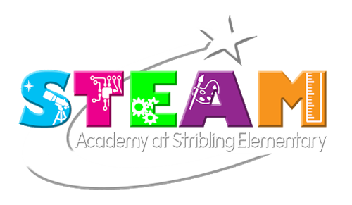 Stribling Logo Image of the word STEAM in pastel colors with a shooting star
