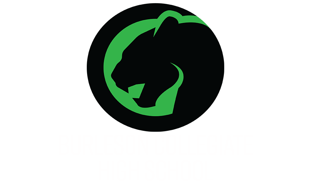 Burleson Collegiate Image of a black panther in a green circle