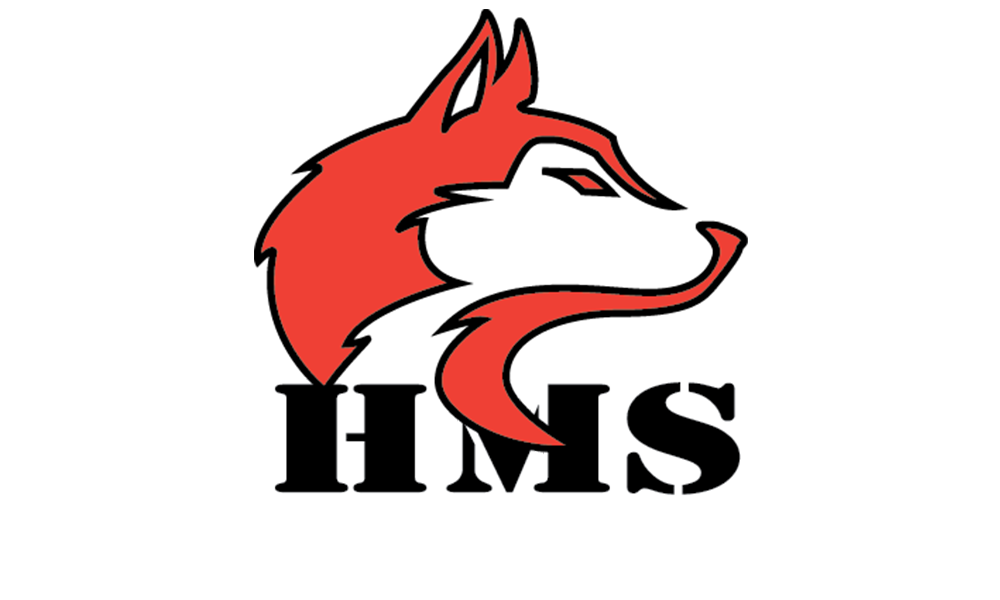 Hughes Logo of the head of a huskey in red and the letters HMS in black
